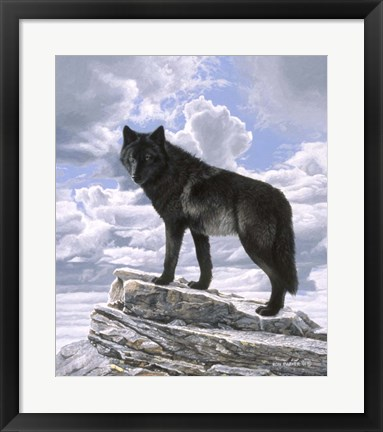 Framed Black Wolf On Skyline Print