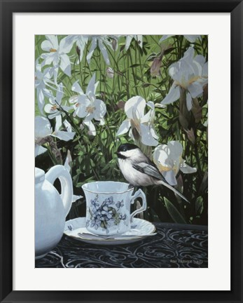 Framed Chickadee And Teacup Print