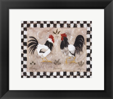 Framed Two Roosters Print