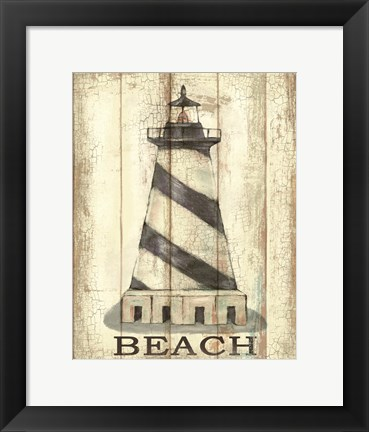 Framed Light House Stripe Print