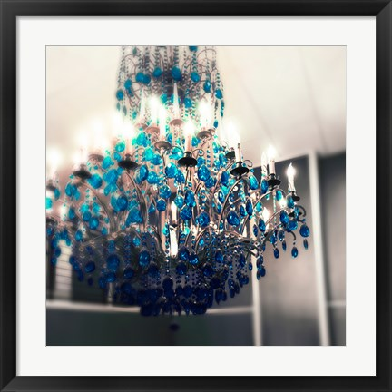 Framed Blue Chandelier Print