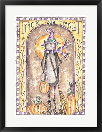Framed Trick or Treat Cat Witch Print