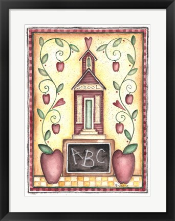 Framed School ABC Primitive Print