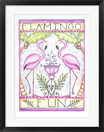 Framed Flamingo Fun Print