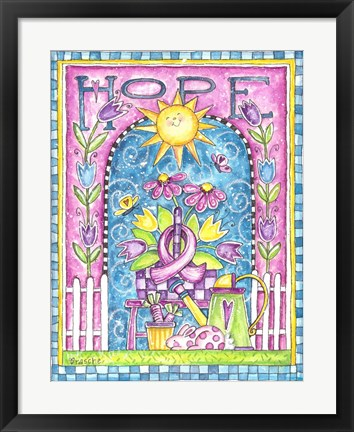 Framed Breast Cancer Awareness: Hope Garden Print