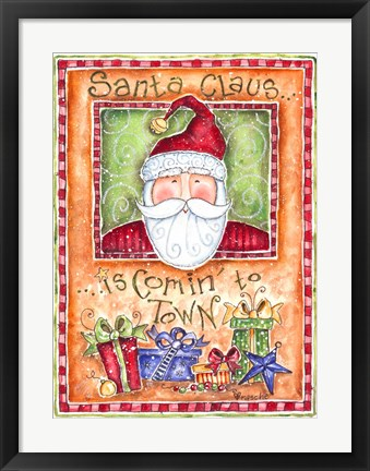 Framed Santa Claus is Coming to Town Print