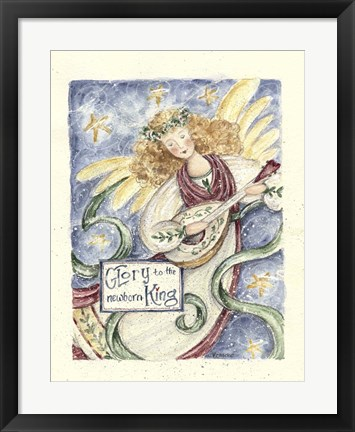 Framed Angel With Guitar Glory To The King Print