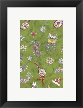 Framed Festive Pattern On Green Print