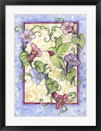 Framed Hummingbird with Trumpet Flowers Print