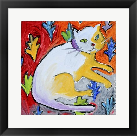 Framed Kitty with Leaf Pattern Print
