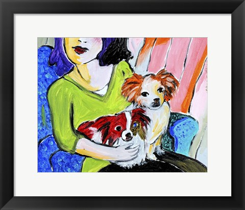 Framed Lady with Her Lap Dogs Print