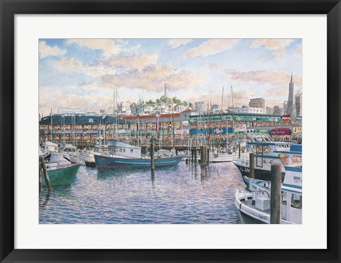 Framed Fisherman's Wharf Sunset Print