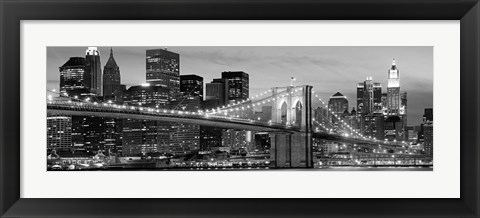 Framed Brooklyn Bridge at Night (Detail) Print