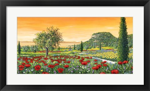 Framed Le Colline in Fiore Print