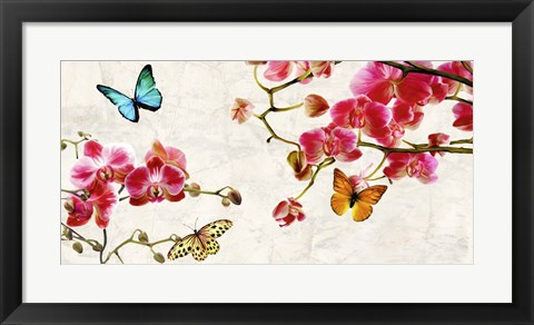 Framed Orchids & Butterflies Print