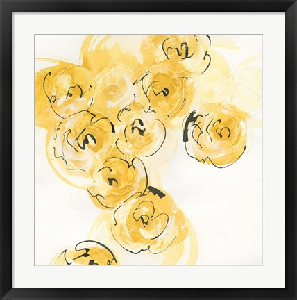 Framed Yellow Roses Anew I Print