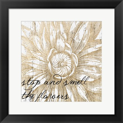 Framed Metallic Floral Quote I Print
