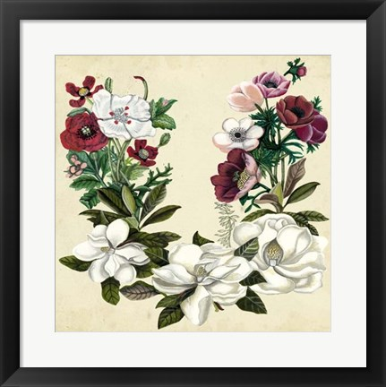 Framed Magnolia & Poppy Wreath II Print