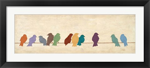 Framed Birds Meeting  (assorted colors) Print
