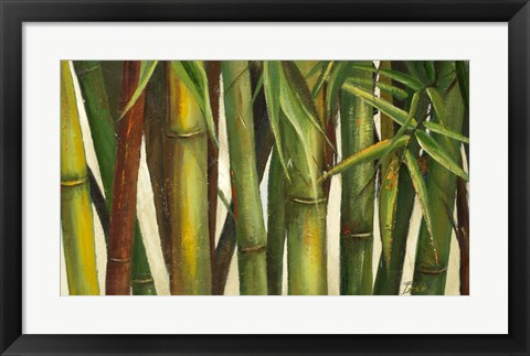 Framed Bamboo on Beige I Print