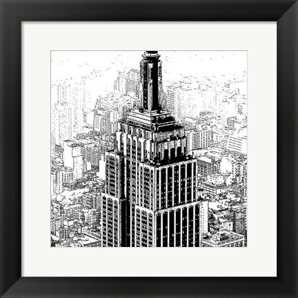 Framed Empire State Sketch Print