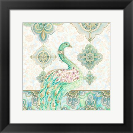 Framed Emerald Peacock I Print