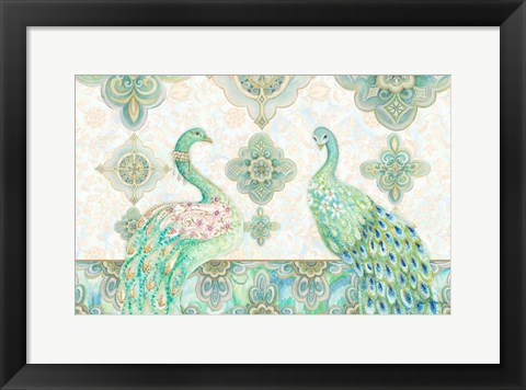 Framed Emerald Peacock Rectangle Print