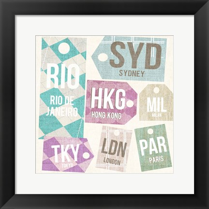Framed City Tags Square II Print