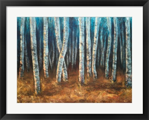 Framed Moonlit Birchwood Print