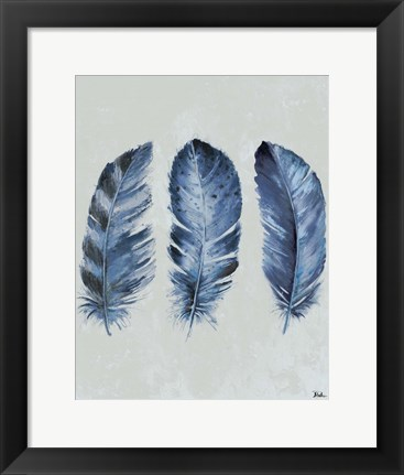 Framed Indigo Blue Feathers II Print