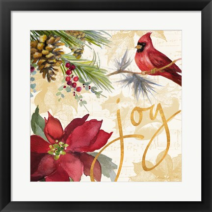 Framed Christmas Poinsettia I Print
