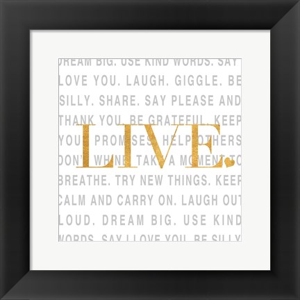 Framed Gold Love and Life II Print