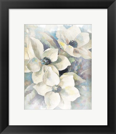 Framed Magnolias Aglow on Abstract II Print