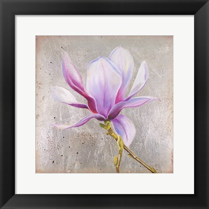 Framed Magnolia on Silver Leaf II Print