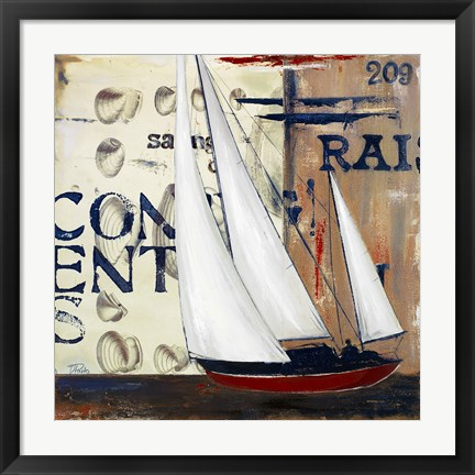 Framed Blue Sailing Race II Print