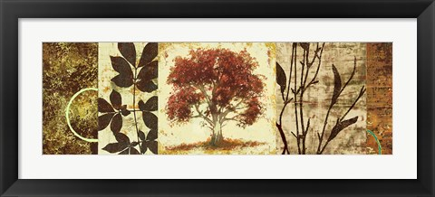 Framed Red Tree Panel I Print