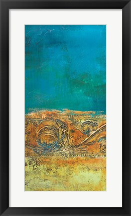 Framed Rustic Frieze on Teal II Print