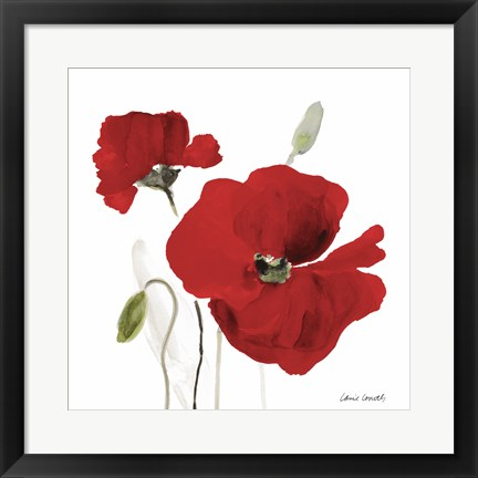 Framed All Red Poppies I Print