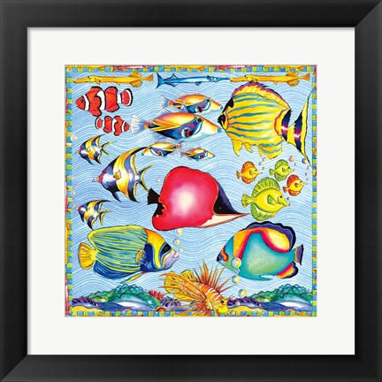 Framed Fish Pattern Print