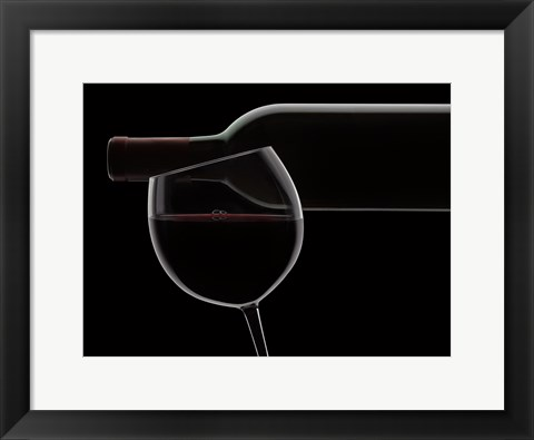 Framed Red Wine Silhouette Print