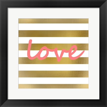 Framed Pink And Gold Love Print