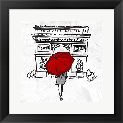 Framed Inked Walk Away Red Print