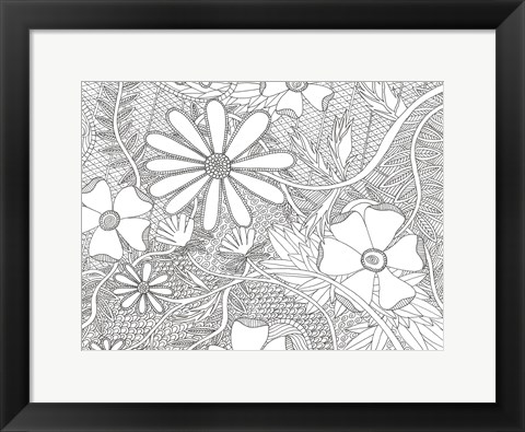 Framed Wild Daisys Less Print