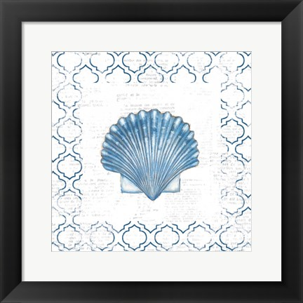 Framed Navy Scallop Shell on Newsprint Print