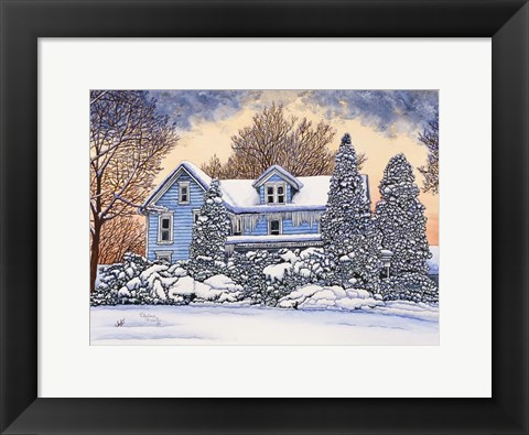 Framed Blue House Print