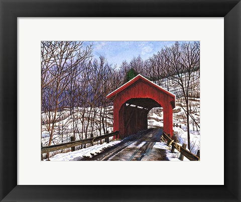 Framed Old Red Bridge In Vermont Print