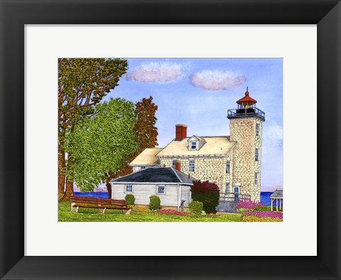 Framed Sodus Bay Lighthouse, Lake Ontario, Sodus Point, Ny Print