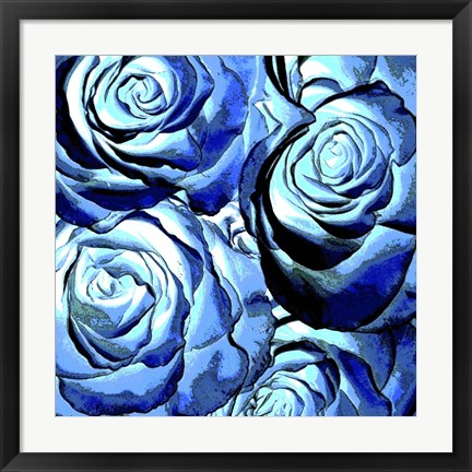 Framed Blue Roses Square Print