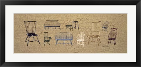 Framed 33 Antique Chairs Print
