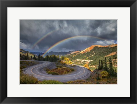 Framed Red Mountain Rainbow Print